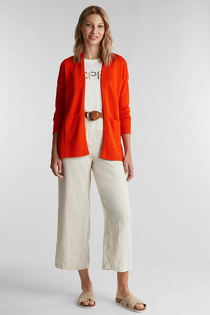 Open cardigan with organic cotton, RUST ORANGE, detail image number 1