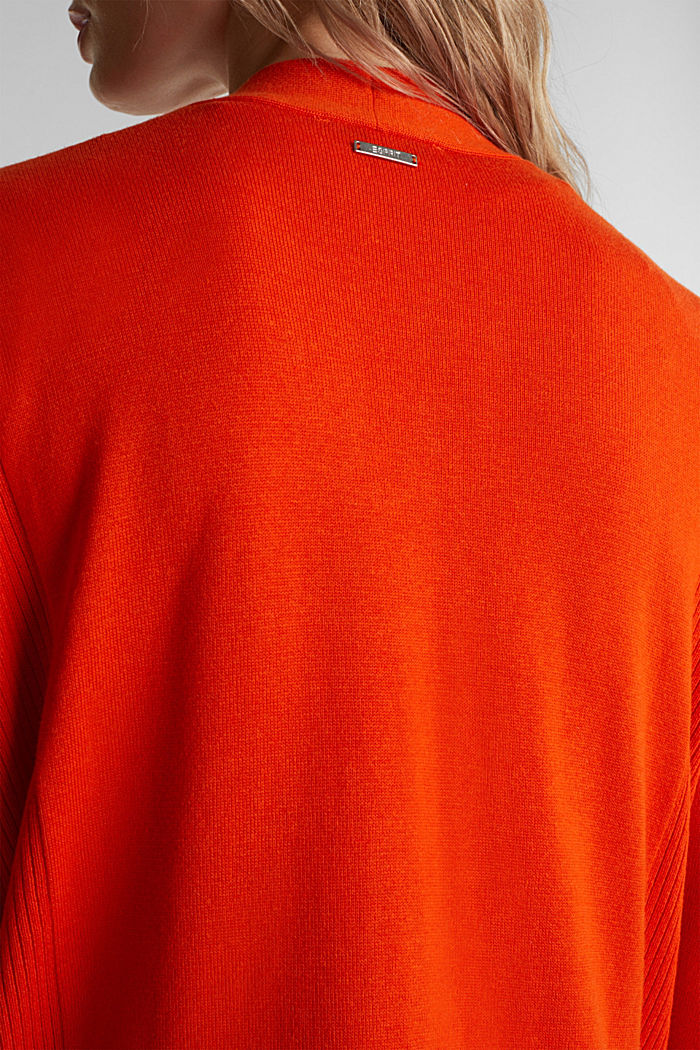 Open cardigan with organic cotton, RUST ORANGE, detail image number 2