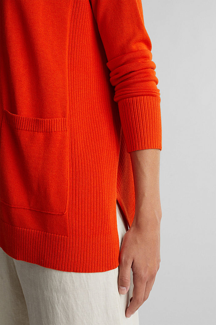 Open cardigan with organic cotton, RUST ORANGE, detail image number 5