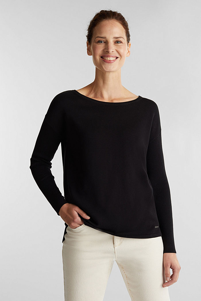Basic jumper with organic cotton, BLACK, detail image number 0