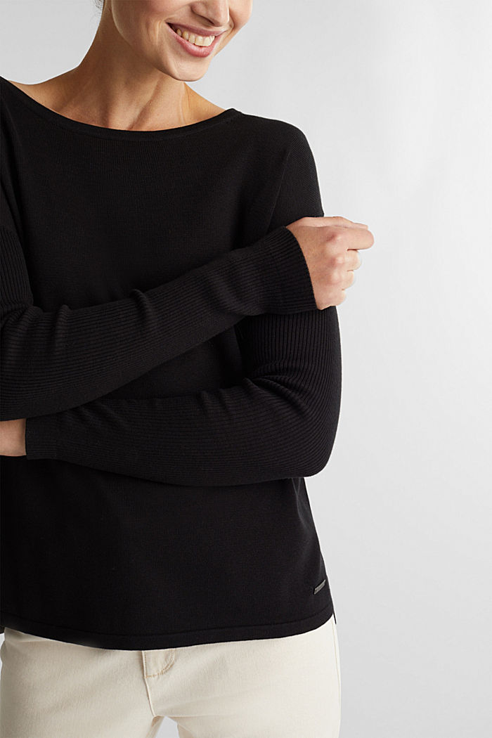 Basic jumper with organic cotton, BLACK, detail image number 2