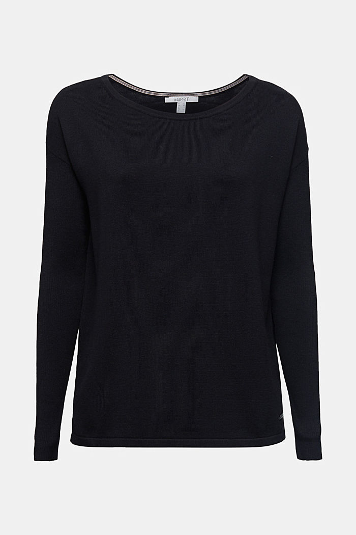 Basic jumper with organic cotton, BLACK, detail image number 6