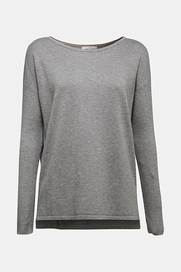 Basic jumper with organic cotton, GUNMETAL, detail image number 6