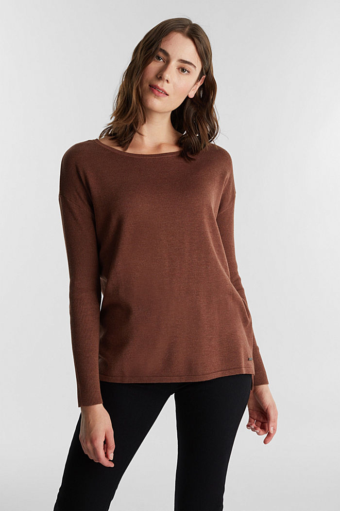 Basic jumper with organic cotton, BROWN, detail image number 0
