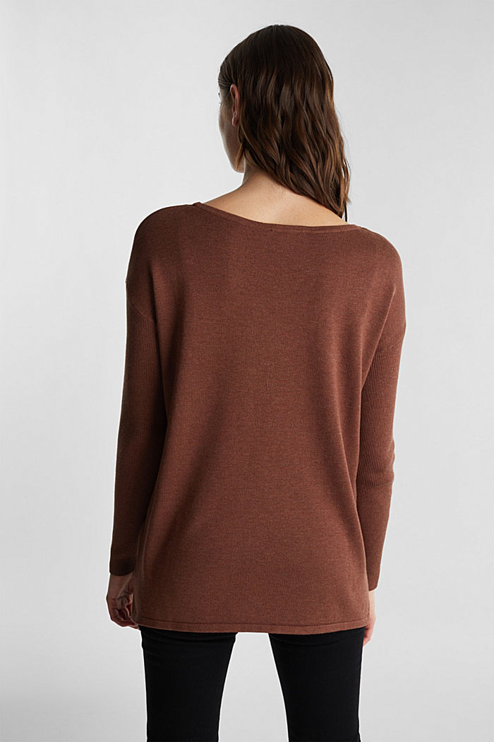 Basic jumper with organic cotton, BROWN, detail image number 2