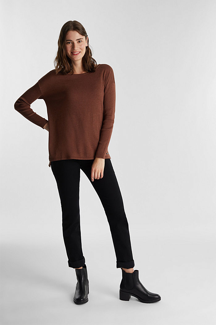Basic jumper with organic cotton, BROWN, detail image number 1