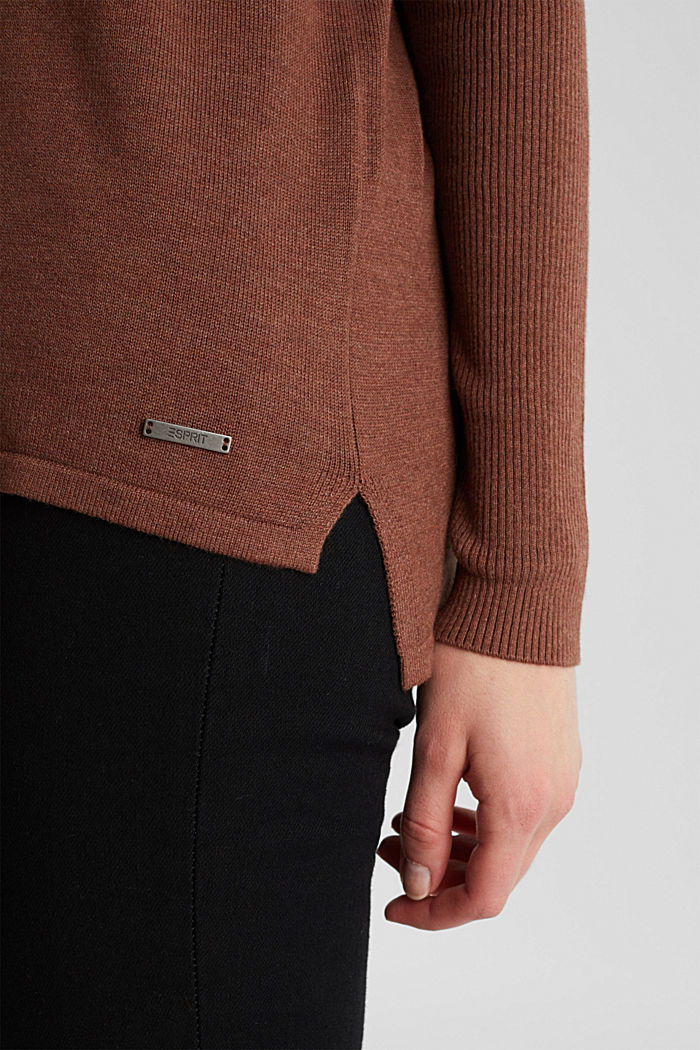 Basic jumper with organic cotton, BROWN, detail image number 4