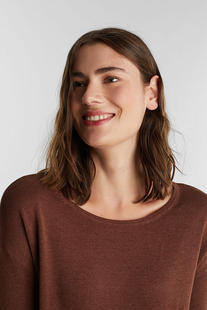 Basic jumper with organic cotton, BROWN, detail image number 5