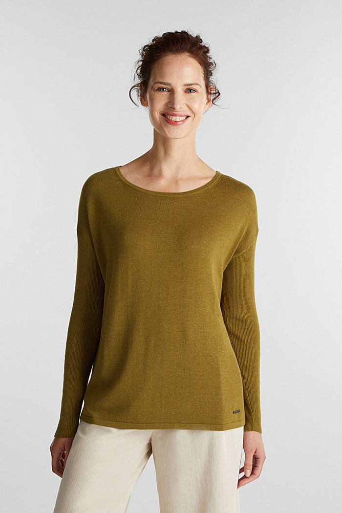 Basic jumper with organic cotton, OLIVE, detail image number 0