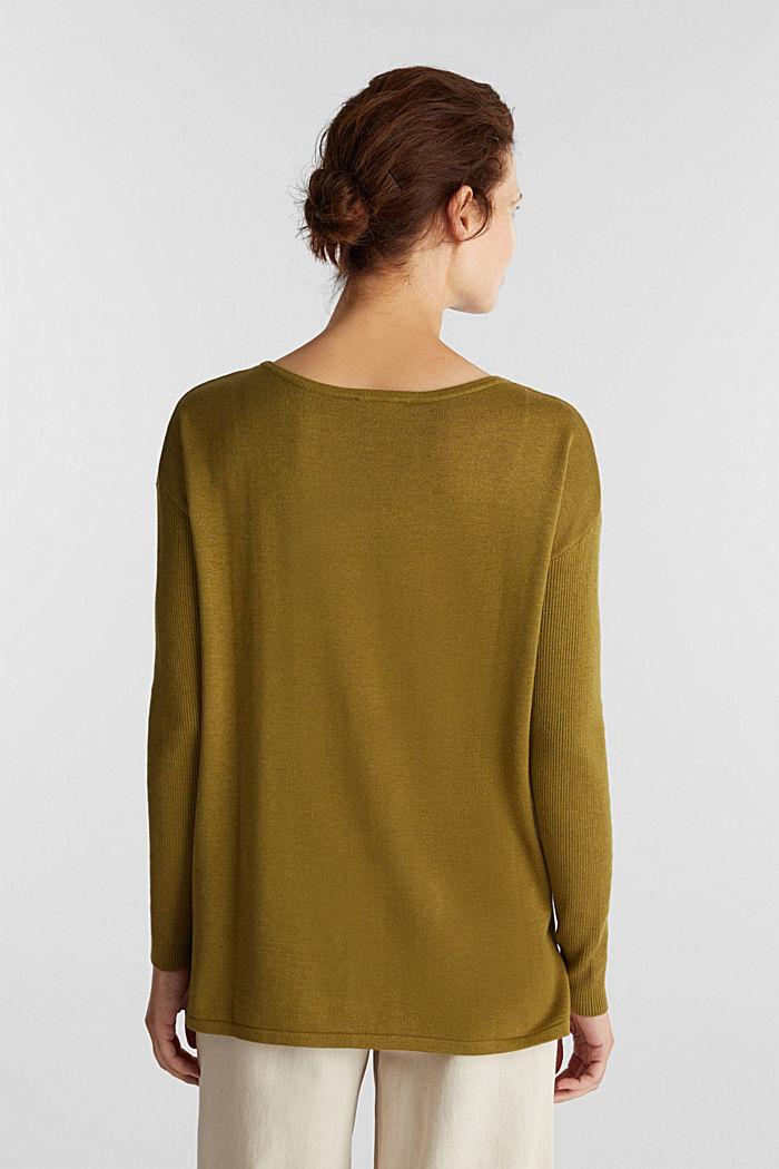 Basic jumper with organic cotton, OLIVE, detail image number 2