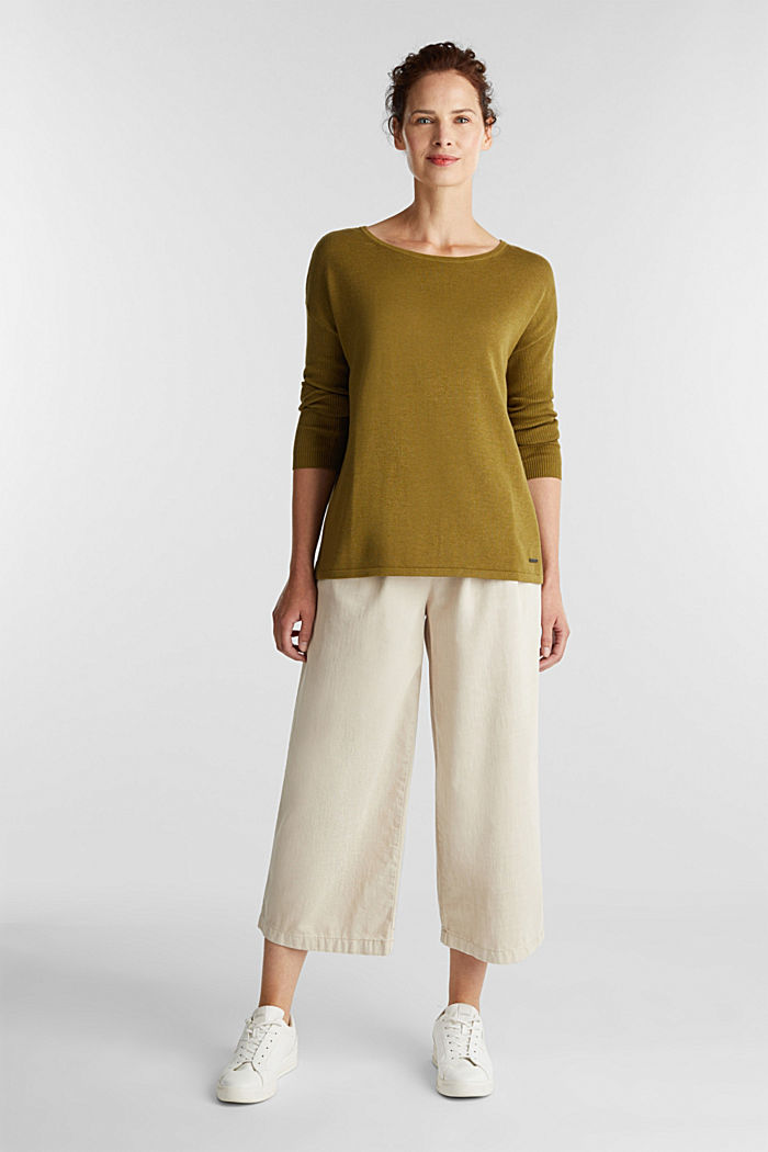 Basic jumper with organic cotton, OLIVE, detail image number 1