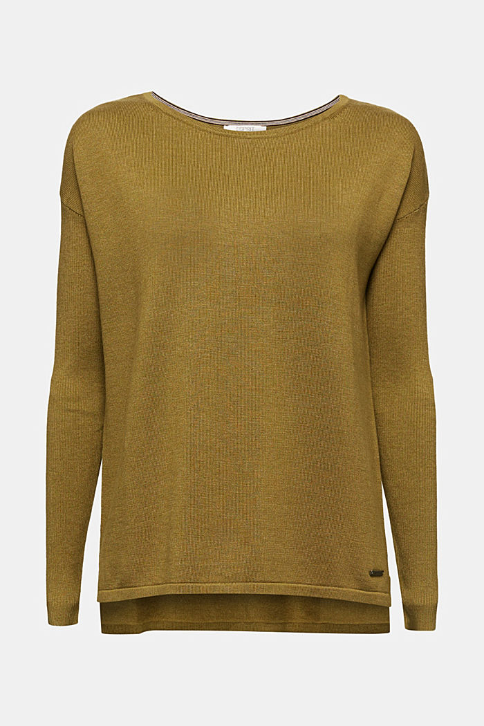 Basic jumper with organic cotton, OLIVE, detail image number 6