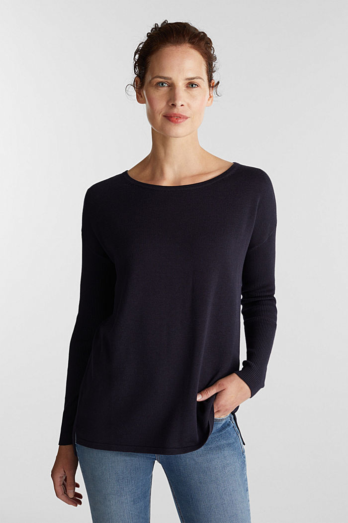 Basic jumper with organic cotton, NAVY, overview