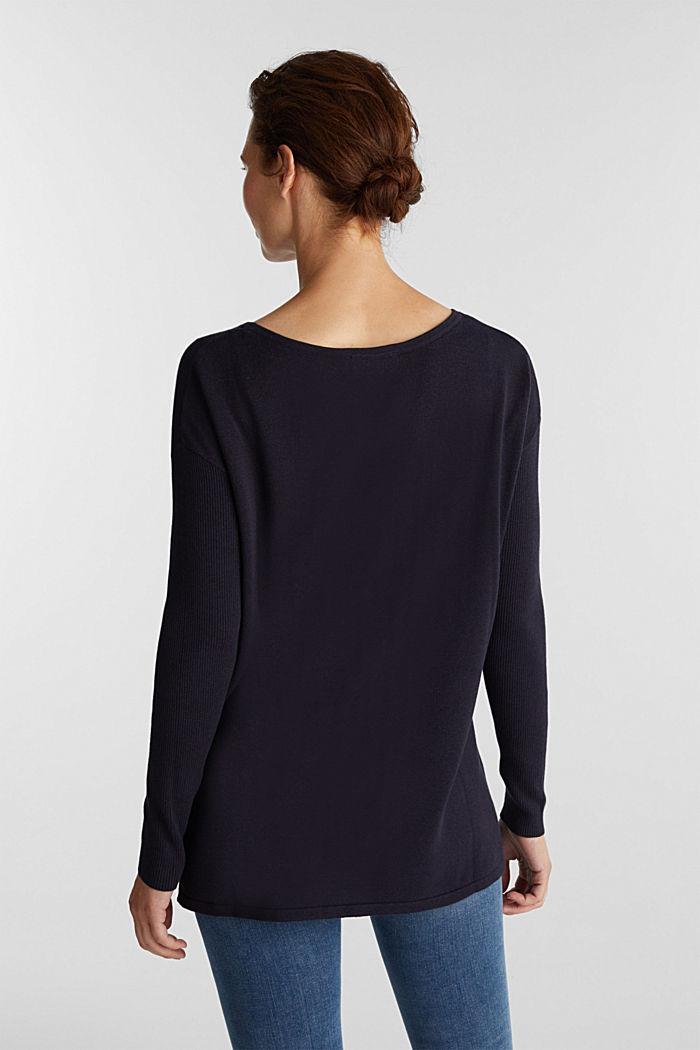 Basic-Pullover mit Bio-Baumwolle, NAVY, detail image number 3