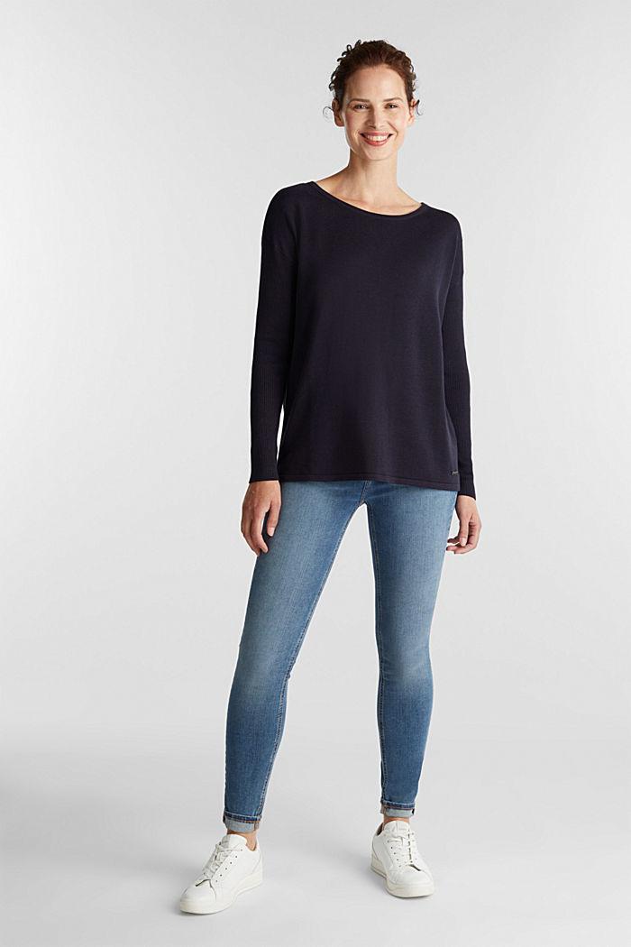 Basic-Pullover mit Bio-Baumwolle, NAVY, detail image number 1