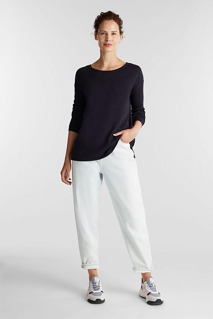 Basic-Pullover mit Bio-Baumwolle, NAVY, detail image number 6