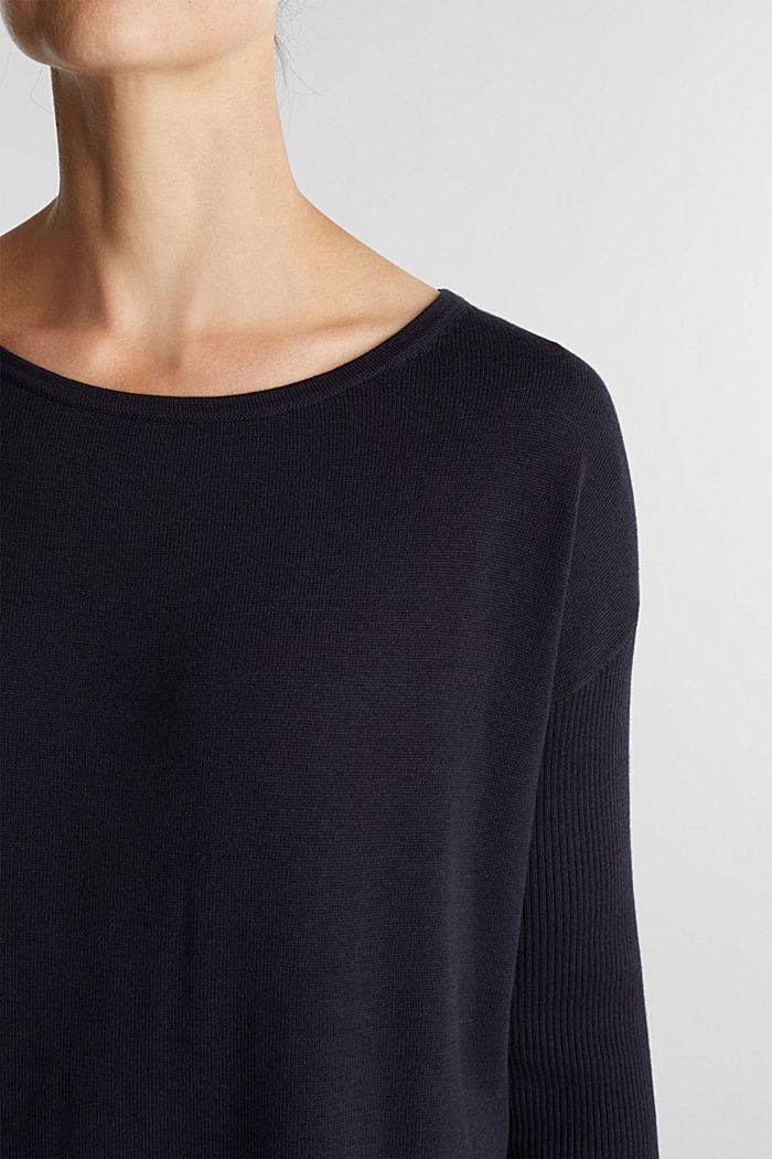 Basic jumper with organic cotton, NAVY, detail image number 2