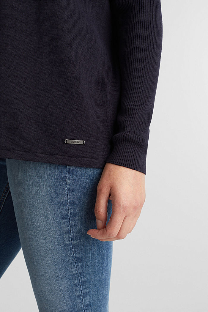 Basic jumper with organic cotton, NAVY, detail image number 5