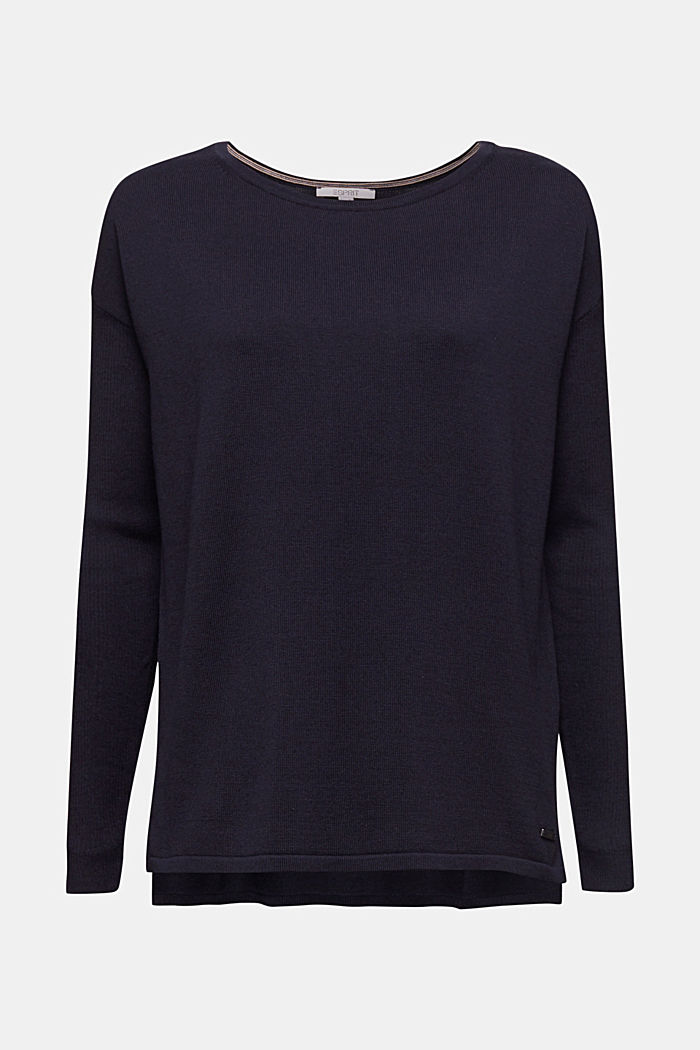 Basic jumper with organic cotton, NAVY, detail image number 7