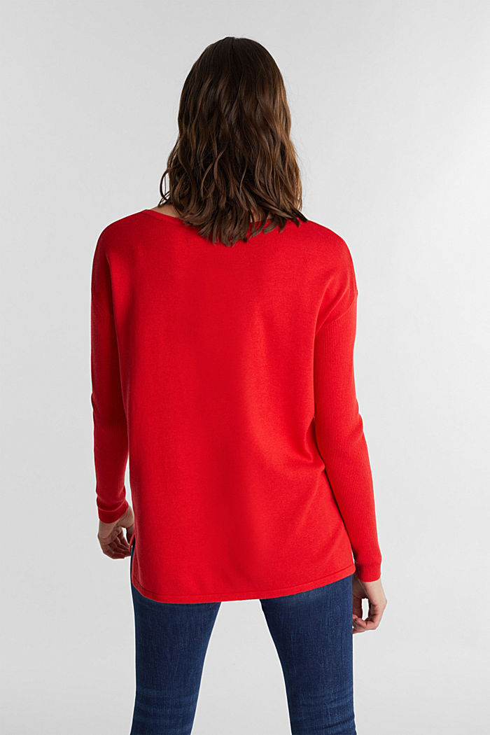 Basic jumper with organic cotton, RED, detail image number 2