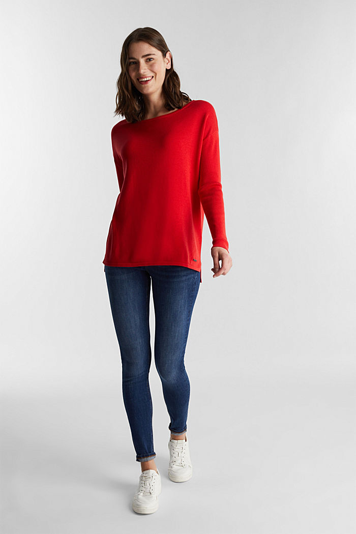 Basic jumper with organic cotton, RED, detail image number 1
