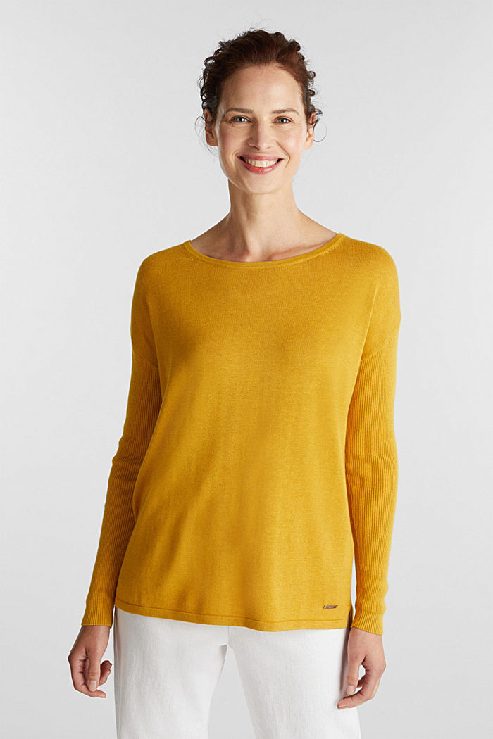 Basic jumper with organic cotton, BRASS YELLOW, detail image number 0