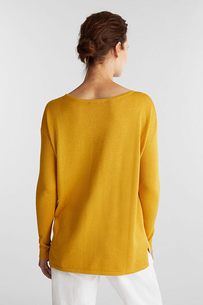 Basic jumper with organic cotton, BRASS YELLOW, detail image number 3