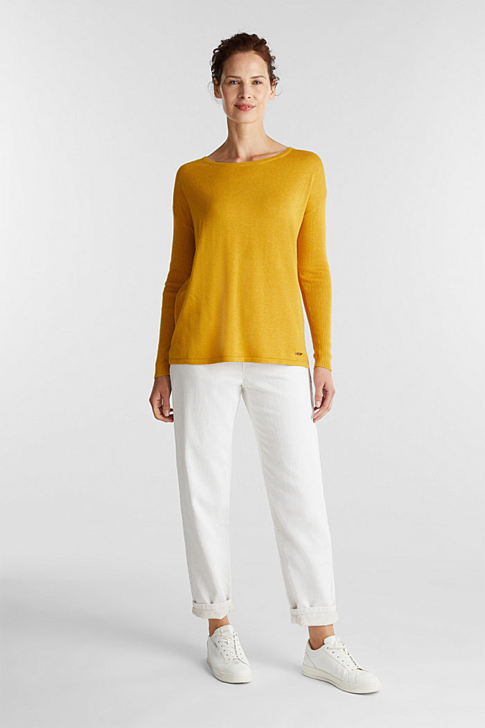 Basic jumper with organic cotton, BRASS YELLOW, detail image number 1