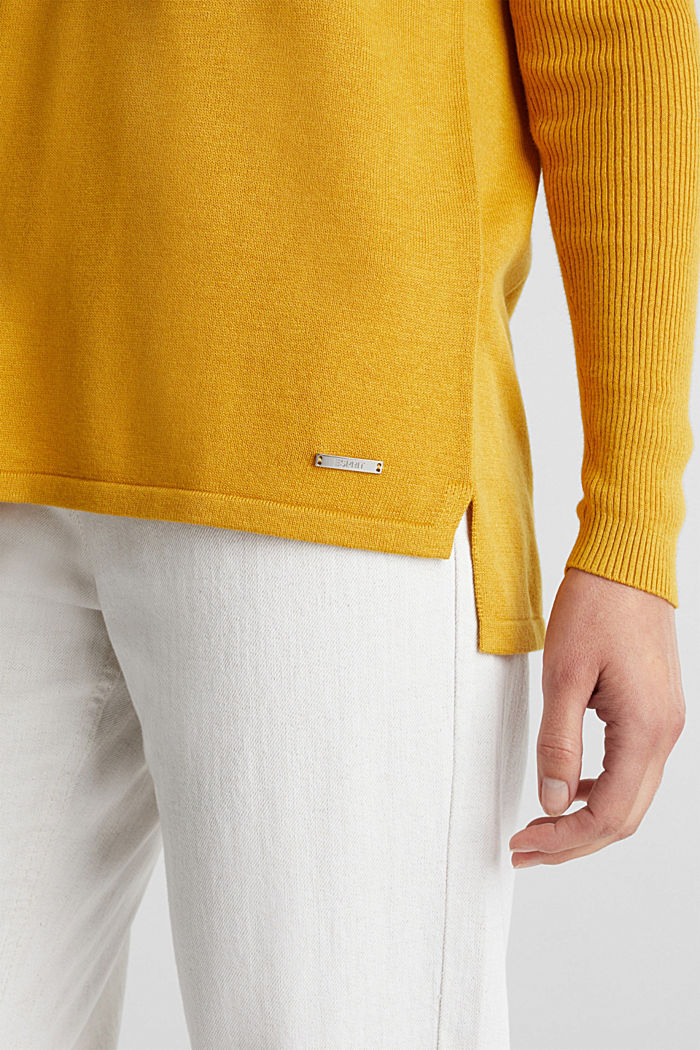 Basic jumper with organic cotton, BRASS YELLOW, detail image number 2