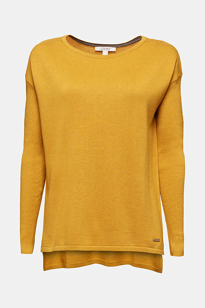 Basic jumper with organic cotton, BRASS YELLOW, overview
