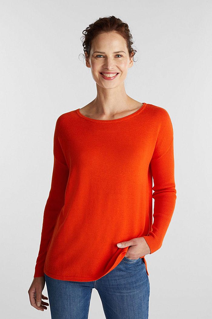 Basic jumper with organic cotton, RUST ORANGE, detail image number 0
