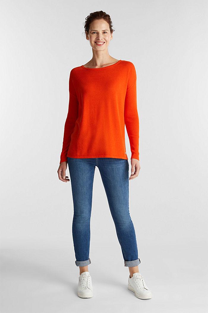 Basic jumper with organic cotton, RUST ORANGE, detail image number 1