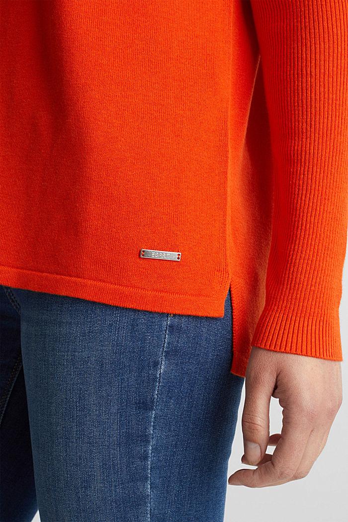 Basic jumper with organic cotton, RUST ORANGE, detail image number 2