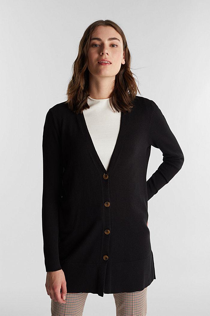 Long V-neck cardigan, BLACK, detail image number 0