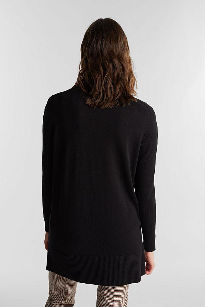Long V-neck cardigan, BLACK, detail image number 3