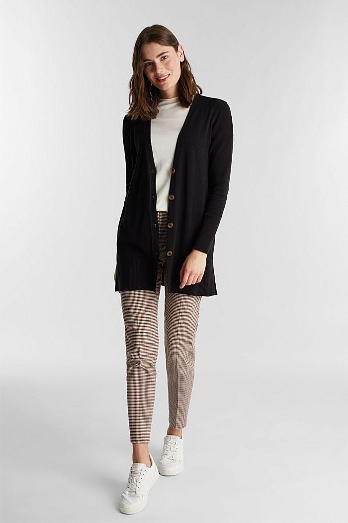 Long V-neck cardigan, BLACK, detail image number 1