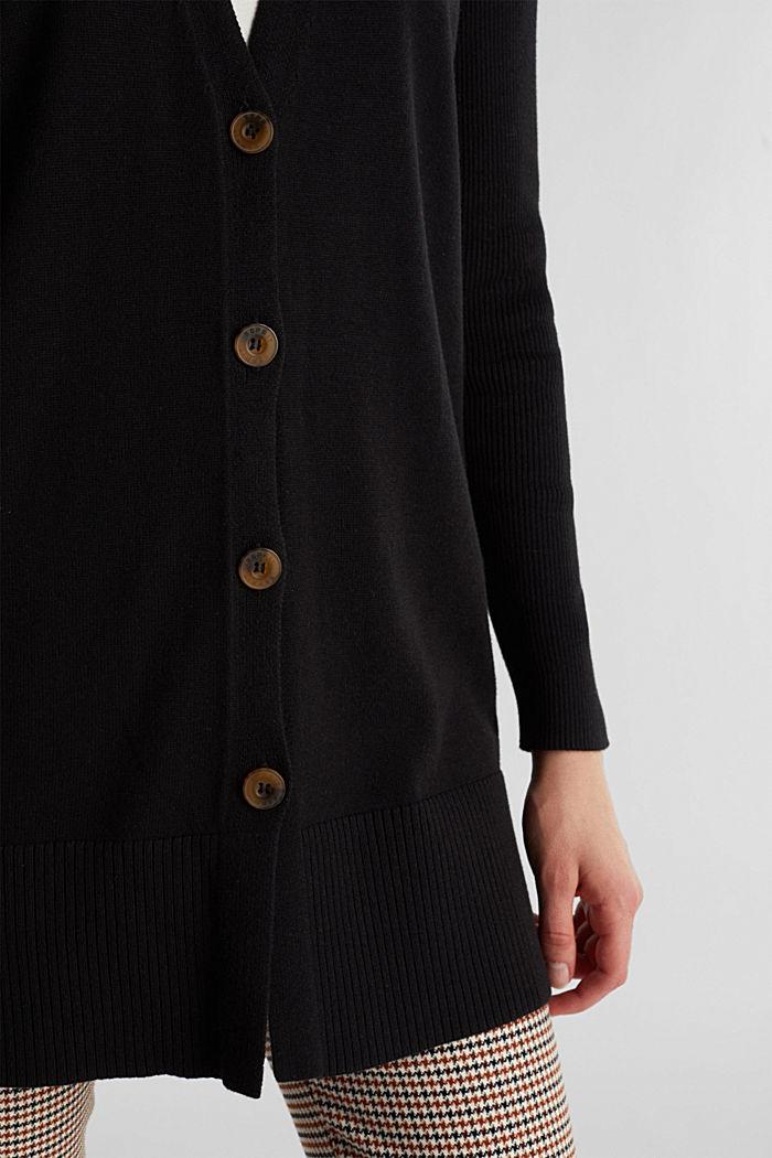 Long V-neck cardigan, BLACK, detail image number 2
