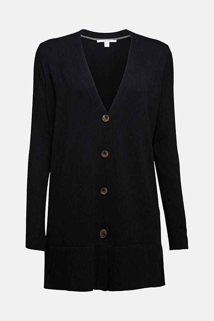 Long V-neck cardigan, BLACK, detail image number 6