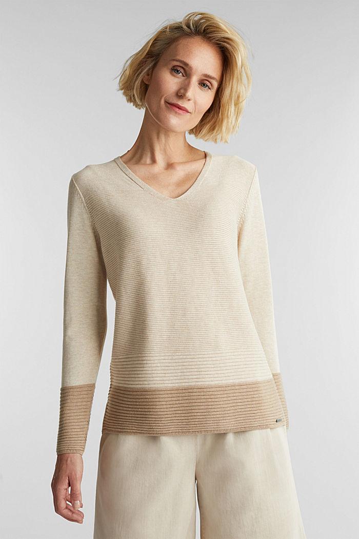 Color-Block-Pullover mit V-Neck, SAND, detail image number 0
