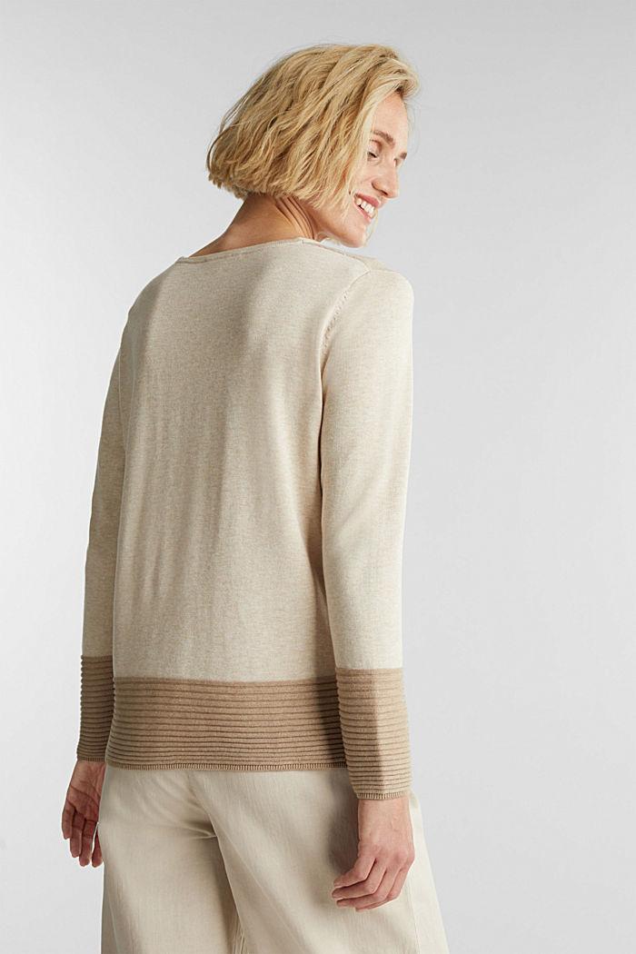 Color-Block-Pullover mit V-Neck, SAND, detail image number 3