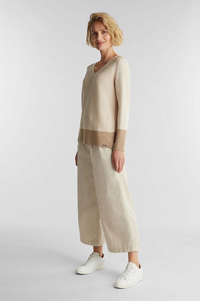 Color-Block-Pullover mit V-Neck, SAND, detail image number 1