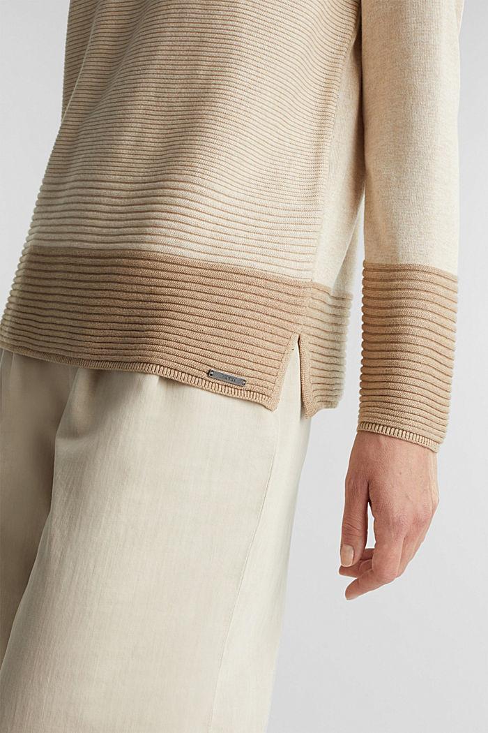 Color-Block-Pullover mit V-Neck, SAND, detail image number 2