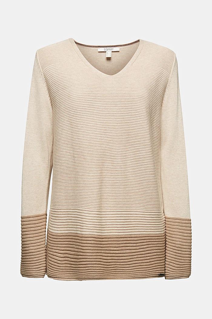 Color-Block-Pullover mit V-Neck, SAND, detail image number 5