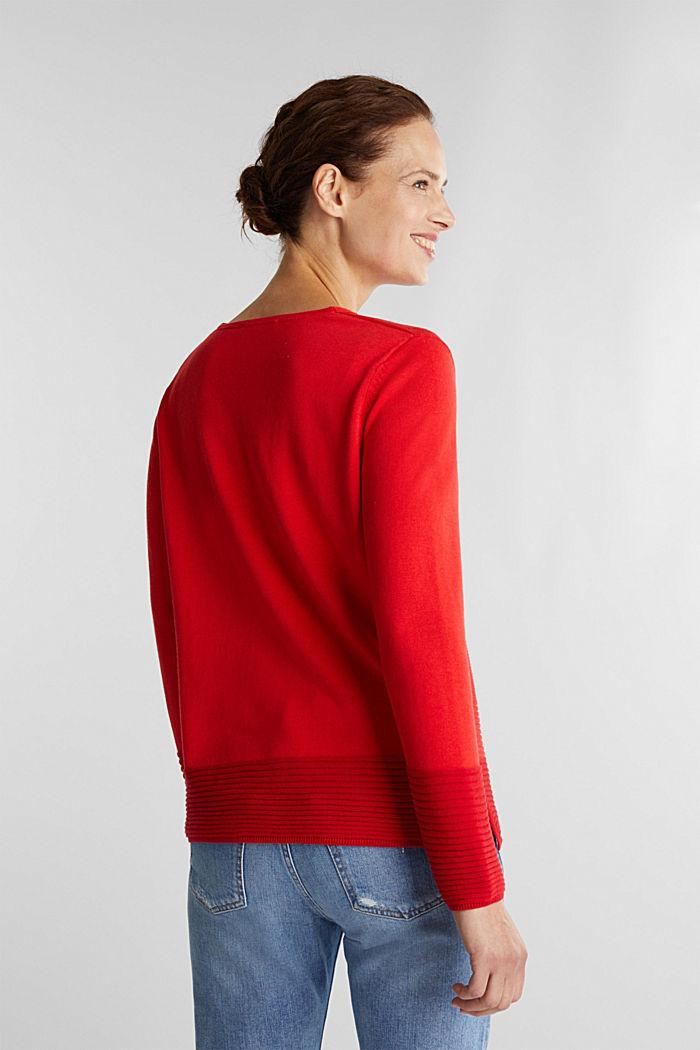 Colour block jumper with a V-neck, RED, detail image number 3