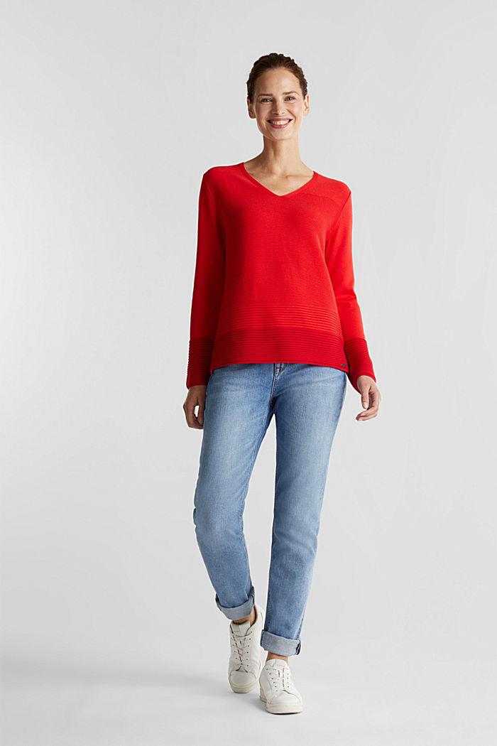 Colour block jumper with a V-neck, RED, detail image number 1
