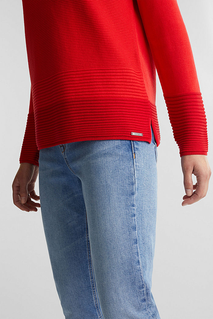 Colour block jumper with a V-neck, RED, detail image number 2