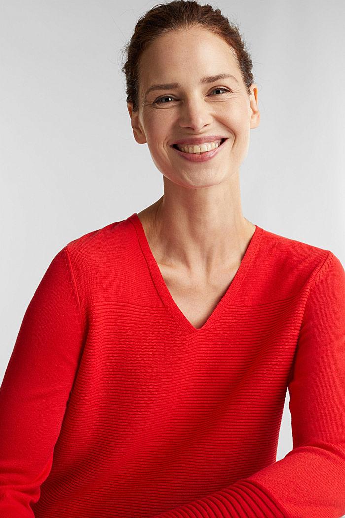 Colour block jumper with a V-neck, RED, detail image number 5