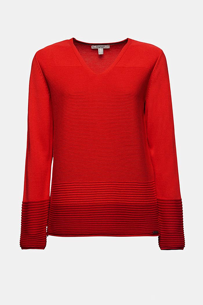 Colour block jumper with a V-neck, RED, detail image number 6