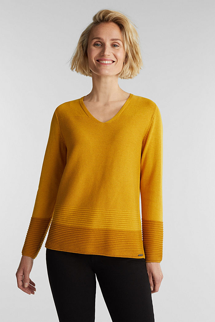 Color-Block-Pullover mit V-Neck, BRASS YELLOW, detail image number 0
