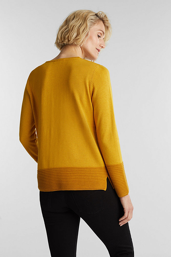Color-Block-Pullover mit V-Neck, BRASS YELLOW, detail image number 3
